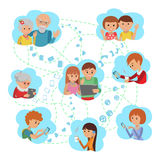 Social Media Communications. Man Woman Couple Calling With Tablet To Their Children Parents Grandparents And Friends. Royalty Free Stock Photography