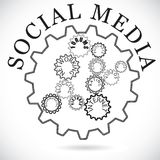 Social media components shown as cogwheels in sync. Social media components shown in cog wheels working together synchronously. The components include blogging royalty free illustration