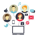 Social Media Composition. Picture illustrating how people are connected through social media Stock Photography