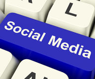 Social Media Computer Key Showing Online Community Stock Photo