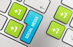 Social Media Concept. On modern aluminium keyboard Stock Photo