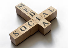 Social Media Concept. Combination of the words social and media composed of cubes. Focused on I letter. Isolated on white Royalty Free Stock Photography