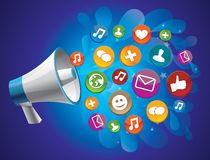 Social media concept. Icon megaphone with icon - social media concept Stock Photography