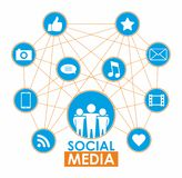 Social media concept. Isolated on white background. Vector illustration Stock Photo