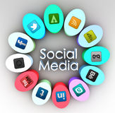 Social media concept. Social media flower concept with social icons Stock Photography