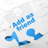 Social media concept: Add as Friend on puzzle background. Social media concept: Add as Friend on White puzzle pieces background, 3D rendering Royalty Free Stock Images