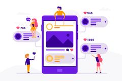 Social media concept banner with phone and small people around it having chat, mailing with likes and photos. Vector. Illustration in flat design with Stock Images