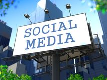 Social Media Concept on Billboard. Stock Photo