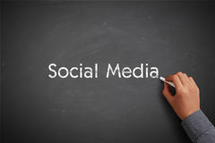 Social Media Concept Blackboard With Businessman Hand Stock Photos