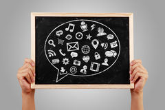 Social Media Concept Blackboard With Hands Stock Photography
