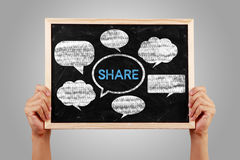 Social Media Concept Blackboard With Hands Royalty Free Stock Images