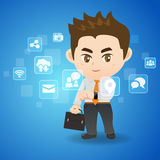 Social Media Concept. Cartoon business man use tablet pc Royalty Free Stock Photography