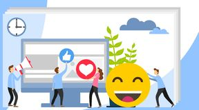 Social media concept with characters. Social Media theme, flat style, colorful, vector icon set for info graphics, websites, royalty free illustration