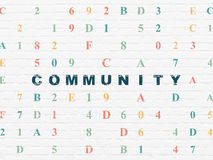 Social media concept: Community on wall background. Social media concept: Painted blue text Community on White Brick wall background with Hexadecimal Code, 3d Stock Photos