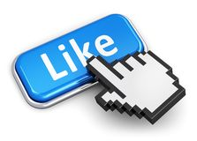 Social media concept. Creative social media network, internet and web communication concept: hand link selection computer mouse cursor pressing blue metal glossy Stock Photography