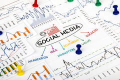 Social media. Concept with financial and marketing charts Royalty Free Stock Photography