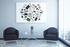 Social media concept. Front view of abstract interior with two armchairs, coffee table, social media sketch and city view. 3D Rendering Stock Images