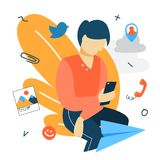 Social media concept. Chatting with friends on the phone royalty free illustration