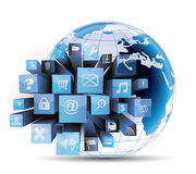 Social media concept. Global Social media concept on white background Stock Photos