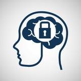 Social media concept, head and brain media security Royalty Free Stock Photos