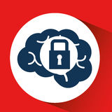 Social media concept, head and brain media security. Vector illustration eps 10 Royalty Free Stock Image