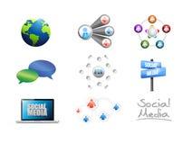Social media concept icon set Royalty Free Stock Photos