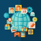 Social media concept illustration in flat design Stock Images