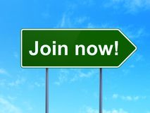 Social media concept: Join now! on road sign background Stock Photos