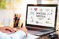 Social Media Concept On Laptop Screen. With Various Doodle Icons Royalty Free Stock Images