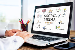 Social Media Concept On Laptop Screen Stock Images