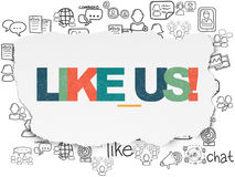 Social media concept: Like us! on Torn Paper background Stock Images
