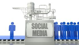 Social media concept with man and group of people Stock Photos