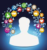 Social media concept - man and icons Royalty Free Stock Photos
