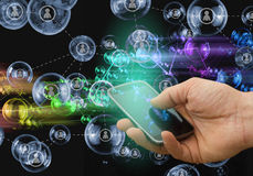 Social media concept on mobile phone, smart phone concept Royalty Free Stock Photo