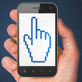 Social media concept: Mouse Cursor on smartphone Stock Images