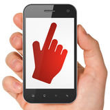 Social media concept: Mouse Cursor on smartphone Stock Image
