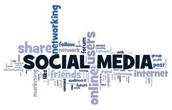 Social media concept. Online networking word cloud stock illustration