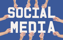 Social Media concept over blue Royalty Free Stock Photos