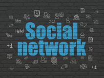 Social media concept: Social Network on wall background Royalty Free Stock Photo