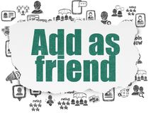 Social media concept: Add as Friend on Torn Paper background Royalty Free Stock Image