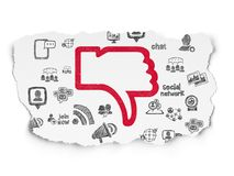 Social media concept: Thumb Down on Torn Paper background Stock Photography