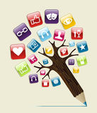 Social media concept pencil tree. Social media glossy icons buttons concept pencil tree. Vector illustration layered for easy manipulation and custom coloring Stock Image