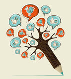 Social media concept pencil tree. Social media hand drawn icons concept pencil tree. Vector illustration layered for easy manipulation and custom coloring Royalty Free Stock Images