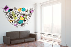 Social media concept. Side view of interior with couch, small glass table, colorful sketch on wall and city view. Social media concept, 3D Rendering Royalty Free Stock Photo