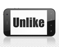 Social media concept: Smartphone with Unlike on display. Social media concept: Smartphone with black text Unlike on display, 3D rendering Stock Photo