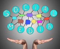 Social media concept sustained by open hands Royalty Free Stock Photo