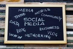 Social media concept text cloud. Social media concept text cloud in textured background Stock Photography