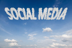 Social media concept text in clouds Stock Images
