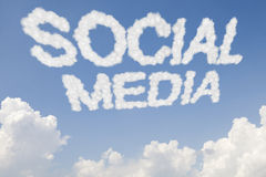 Social media concept text in clouds Royalty Free Stock Images