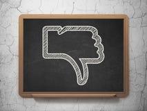 Social media concept: Thumb Down on chalkboard Stock Photo